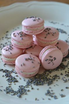 Lavender and Honey Macaroons, serve these sweet treats during your bridal shower. Also the perfect dessert to provide during a baby shower if expecting a girl Macarons Rosa, Pink Macaroons, French Macaroons, Lavender Macarons, Macaron Cookies, Macaron Recipe, Lavender Honey, Gris Rose, Cake Central