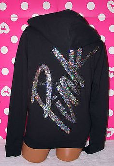 VICTORIAS SECRET PINK BLING SEQUIN  HOODIE SWEATSHIRT BLACK S
