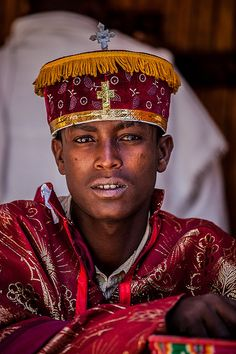 Young priest who celebrates the festival Hosanna (Palm Sunday) in Axum, Tigray, Ethiopia