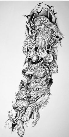 Half Sleeve Tattoos Sketches, Best Sleeve Tattoos, Tattoo Sleeve Designs, Tattoo Sketches, Body Art Tattoos, Norse Mythology Tattoo, Greek Mythology Tattoos, Norse Tattoo, Hades Tattoo
