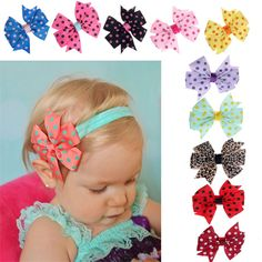 Lovely Baby Girl Bow Headband Soft Elastic Ball Coiffure Fille Cheveux Accessoires