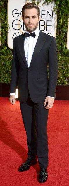 2014 Golden Globes Red Carpet Look - Chris Pine in an Ermenegildo Zegna tuxedo.