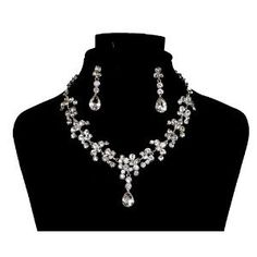Choker Vintage Charm Crystal Rhinestone Chain Wedding Necklaces and Earring Set