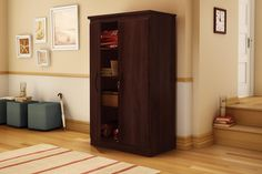 Amazon.com: South Shore Morgan Collection Storage Cabinet, Solid Black: Kitchen & Dining