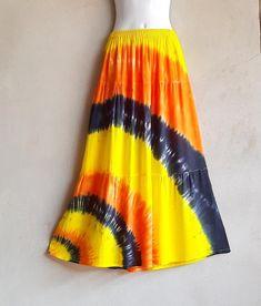 Yellow Skirt Tie Dye Patchwork SkirtSummer Boho Hippie | Etsy Festival Skirts, Shibori Tie Dye, Hippie Festival, Hippie Gypsy, Party Wear, Tie Dye Skirt, Casual Wear, Beachwear, Colorful