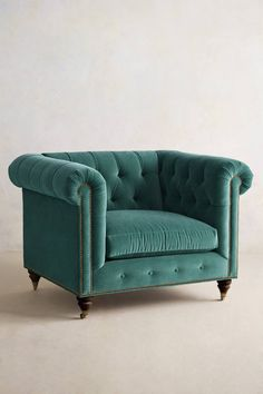 Reading room-- A cute chair for reading! Velvet Lyre Chesterfield Armchair, Hickory -- love it in salmon and the Lyre sofa in same or blue Chesterfield Sofa, Tufted Sofa, Upholstered Chairs, Cosy Home, Take A Seat, Home Furnishings, Home Accessories, Home Furniture, Furniture Chairs