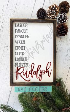 Such a cute wooden sign! Rudolph names svg, christmas svg Merry Christmas, Christmas Signs Wood, Rustic Christmas, All Things Christmas, Winter Christmas, Christmas Holidays, Christmas Projects, Holiday Crafts, Holiday Fun
