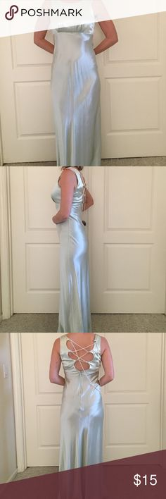Formal dress   Feels like a classic movie star Pale pale mint green dress.  Places up the back with faux pearls. Junior size 7 but this fits like an adult size 2 Dresses Prom