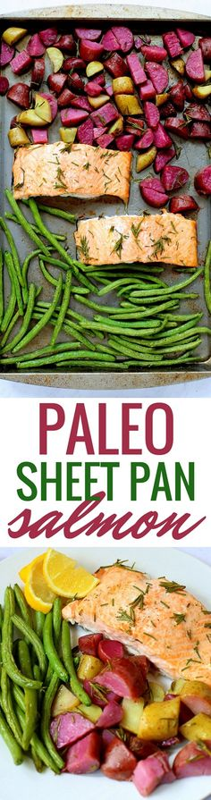 "45 minutes · Gluten free · Serves recipe for Sheet Pan Paleo Salmon with Rosemary Roasted Potatoes and Green Beans answers the question ""What's for dinner?"" with a simple one-pan meal. A combination of flaky salmon, crispy… Clean Dinner Recipes, Paleo Dinner, Clean Eating Recipes, Healthy Eating, Dinner Healthy, Healthy Meals, Seafood Recipes, Paleo Recipes, Cheap Recipes"