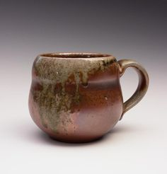 Wood Fired Mug with Iridescent and Ash Melt by ChatNoirPottery