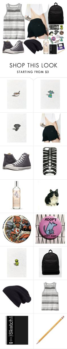 """No Title #166"" by emily102901 ❤ liked on Polyvore featuring Urban Outfitters, The Pink Samurai, Cheap Monday, Converse, Marcelo Burlon, Chapstick, The Body Shop, Marvel, These Are Things and Mi-Pac"