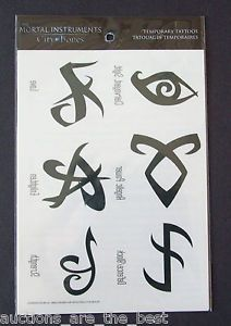 THE MORTAL INSTRUMENTS CITY OF BONES RUNES TEMPORARY TATTOOS NEW UNUSED