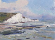 Tom Benjamin Cliffs at Cuckmere Afternoon Sun Oil on Board 23 x 30 cm sold Seascape Paintings, Sisters, Oil, Board, Ocean Drawing, Planks, Butter