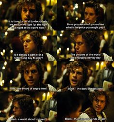 Red and Black :) Aaron Tveit #Enjolras... Enjy reminding the barricade boys to keep their priorities straight ;)