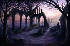 Ruins by Sonia Verdu Steampunk Airship, Halloween Music, Blue Words, Alternate Worlds, Knight In Shining Armor, Fantasy Places, Mystique, Dark Gothic, Halloween Backgrounds