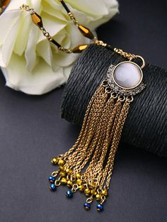 Rhinestone Tassel Chains Faux Opal Necklace #women, #men, #hats, #watches, #belts, #fashion