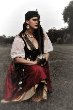 Female pirate cosplay.  Fantasy Under the Stars event.  Image by Amy Holley. 2013