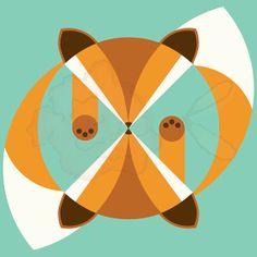 What DOES the Fox Say? - Geometric Animal Print - 10x10 - Digital Print - Geometric - Wall Art - Orange & Teal