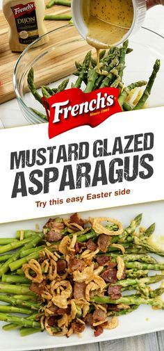 """Mustard Glazed Asparagus with Bacon and Crispy Onions is the best way to """"go green."""" Drizzle with a Dijon Mustard glaze and top with Crispy Fried Onions and bacon for an easy, delicious veggie side. Healthy Pizza Recipes, Low Carb Recipes, Vegetarian Recipes, Cooking Recipes, Asparagus With Bacon, Asparagus Casserole, Veggie Side, Vegetable Side Dishes, Vegetable Recipes"""