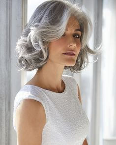 The Amal Synthetic Wig by Rene of Paris is a shaggy bob with loose, romantic curls and softly layered fringe. Curly Hair White Girl, Short Grey Hair, White Hair, Black Hair, Grey Hair Bob, Grey Hair With Bangs, Grey Hair Model, Short Silver Hair, Silver Ombre Hair