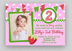 Strawberry Birthday Invitation   Berry by TheTrendyButterfly