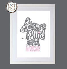 Personalisierte Geburtsanzeige Ausdruck-Elefant von Rock Maple Sugar auf DaWanda.com