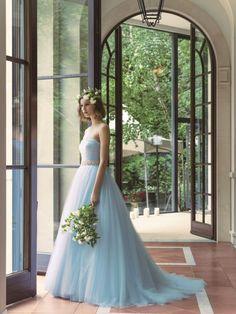 グランマニエのカラードレス バレエブルー Colored Wedding Dresses, Wedding Colors, Wedding Styles, Wedding Ideas, Lovely Dresses, Blue Dresses, Elegant Ball Gowns, Kimono Dress, Designer Dresses