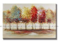 Lively trees oil paintingcrimson trees artlarge by ApeArtStudio