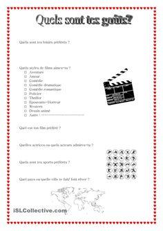 Quels sont tes goûts? | Gratuit FLE  worksheets