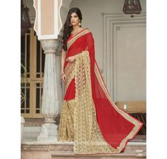 red georgette and net saree with embroidered net border.