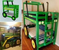 If you'd like to make the kids a Tractor Bed, these John Deere Bunk Bed Plans are just what you need. Check out all the ideas now. #WoodworkingProjectsBed