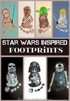 Star Wars Inspired Footprints is part of Baby crafts Fathers Day - Spread the love This post has affiliate links I try very little to hide my love for footprint art I love it I just can't help it So when my sisterinlaw called me over the…Continue Reading… Baby Crafts, Toddler Crafts, Crafts To Do, Crafts For Kids, Baby Footprint Crafts, Kids Fathers Day Crafts, Fathers Day Gifts, Star Wars Crafts, Handprint Art