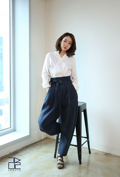 KOODING, an Online Fashion Shopping Website, offers Traditional Pants (Bio Blue) for sale. Shop for women's latest fashion modern hanbok Korea Dress, Modern Hanbok, Look Formal, Dress Making Patterns, Professional Outfits, Dance Outfits, Classy Outfits, Traditional Outfits, Asian Fashion