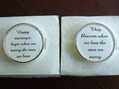 Wedding Anniversary Gift To Groom From Bride Happy Marriages Begin When We Marry The Ones We Love Cuff Links Cufflinks