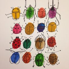 Exploring some new themes. Beetles. #watercolor #nature #bugs #beetles
