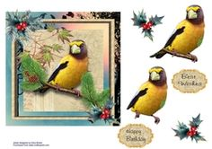 - A bright, vibrant bird sitting in the trees. Decoupage the bird. Printable Crafts, In The Tree, Card Designs, Pet Birds, Decoupage, Card Making, Vibrant, Cards, Trees