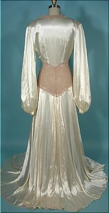 c. 1940's Rayon Satin Candlelight and Pinky-Beige Lace Dressing Gown