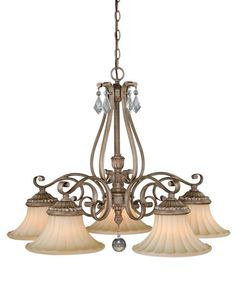 View the Vaxcel Lighting H0141 Avenant 5 Light Single Tier Chandelier with Glass Shades - 32 Inches Wide at LightingDirect.com.
