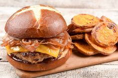 BBQ Turkey Burger with cheddar, caramelized onion, and sweet potato cottage fries.