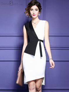 Fashion V-Neck Hit Color Belted Bodycon Dress – Moldes Moda Modest Fashion, Fashion Dresses, Formal Fashion, Dress Skirt, Bodycon Dress, Short Dresses, Dresses For Work, Trendy Dresses, Mode Inspiration