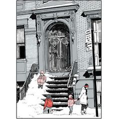 Pack-of-5-New-York-City-Christmas-Cards-Brownstone-Winter-No-x12