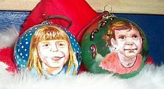 Childrens faces on ornaments