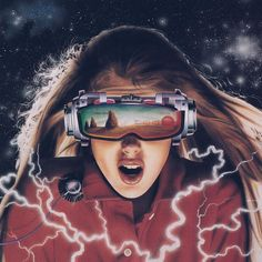 Might want to check the wiring on her VR headset... ⚡️ . . . : Invitation To The Game - book cover #space #vr #scifi #synthwave #80s #retro #newretrowave #1980s #vintage #newwave #eighties #nostalgia #retroart #80sart #outrun #airbrush #80sairbrush