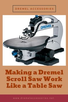 Maybe you have a Dremel scroll saw, but you need to do some light rip cuts. Do you go out and buy an expensive table saw for just a couple of occasional cuts? Of course not. Table Saw, A Table, Rip Cut, Dremel Accessories, Scroll Saw, Power Tools, Household, Traveling, Woodworking