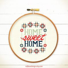 Home Sweet Home cross stitch pattern - Modern Home sweet home -Xstitch Instant download - Funny Colorful Happy floral typographic love home - Thumbnail 1