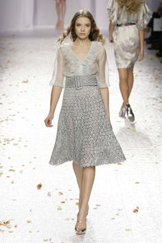 Luisa Beccaria, ss2009 rtw, look 22. High waisted crochet skirt with sheer blouse.