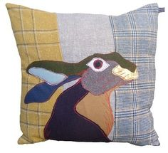 CAROLA VAN DYKE - British Countryside Winter cushion, great way to up cycle old tweed and wool jackets. Fabric Art, Fabric Crafts, Sewing Crafts, Sewing Projects, Applique Cushions, Wool Applique, Patchwork Cushion, Animal Cushions, Bunny Art