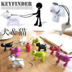 鍵をなくし易いあなたに・・・可愛い贈物♪ DOGGY Key Finder & KITTY Key Finder(ドッギー キーファインダー & キティー キーファインダー )キーホルダー・鍵 全5色(グリーン/ブラック/レッド/パープル/ホワイト):楽天