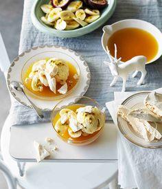 Pavlova semifreddo with banana and passionfruit | Gourmet Traveller