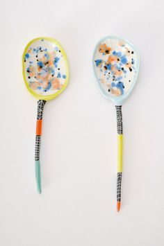 "Hand-pinched ceramic spoon from Brooklyn artist Suzanne Sullivan.  Approx. 2"" across top, 7"" in length"